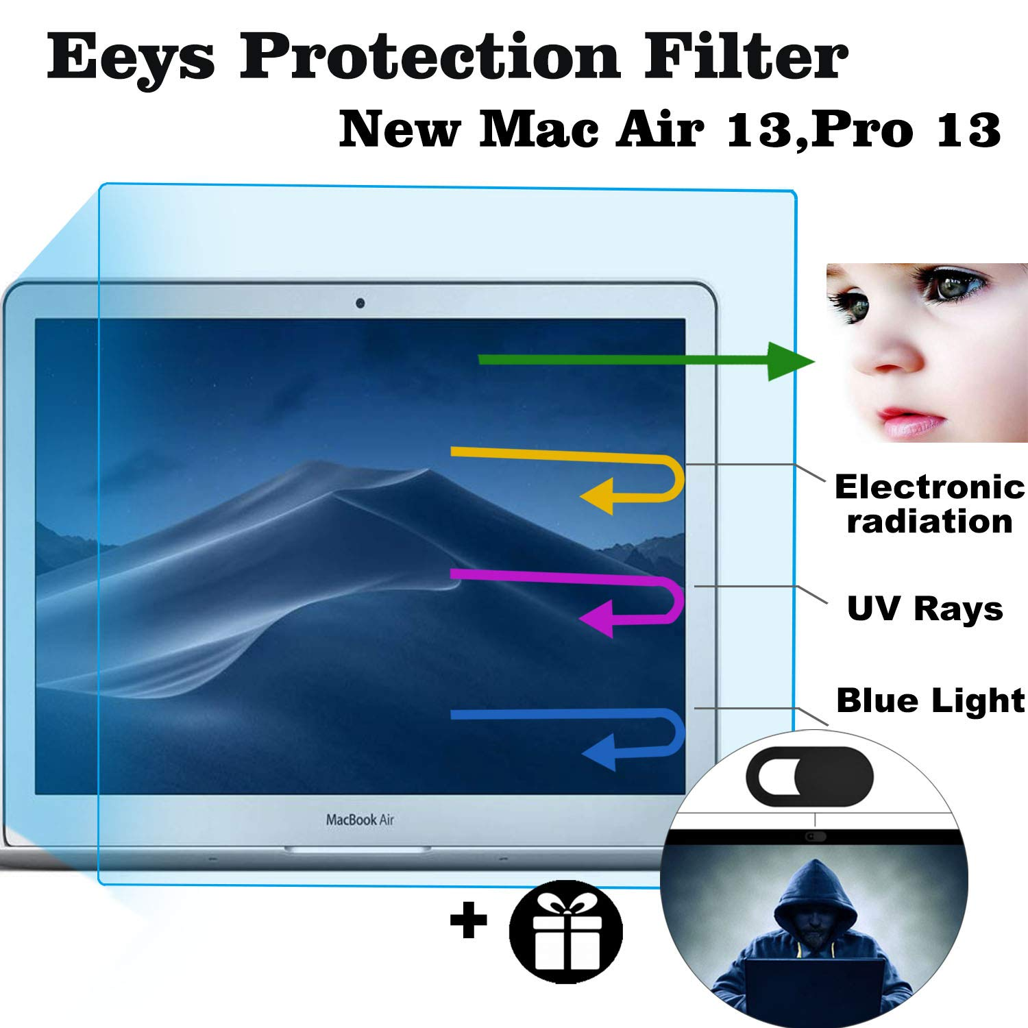 2 Pack Eyes Protection Filter Fit 2016-2019 New MacBook Pro 13 A1706 A1708 A1989 |MacBook Air 13 2018 A1932 Anti Blue Light & Glare Screen Protector Reduces Eye Strain Help You Sleep Better