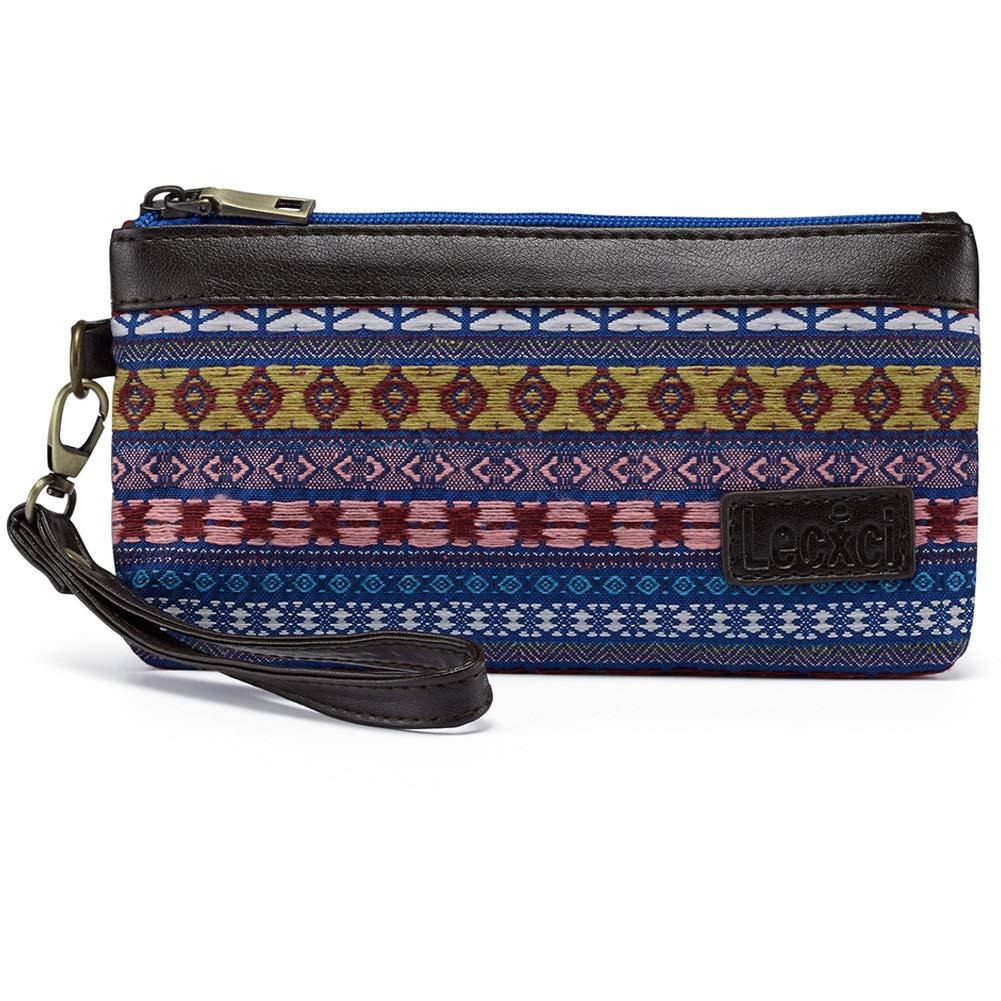 Lecxci Women's Canvas Smartphone Wristlets Bag, Clutch Wallets Purses for iPhone 6S/7 Plus/8 Plus/X (Bohemia Pattern)