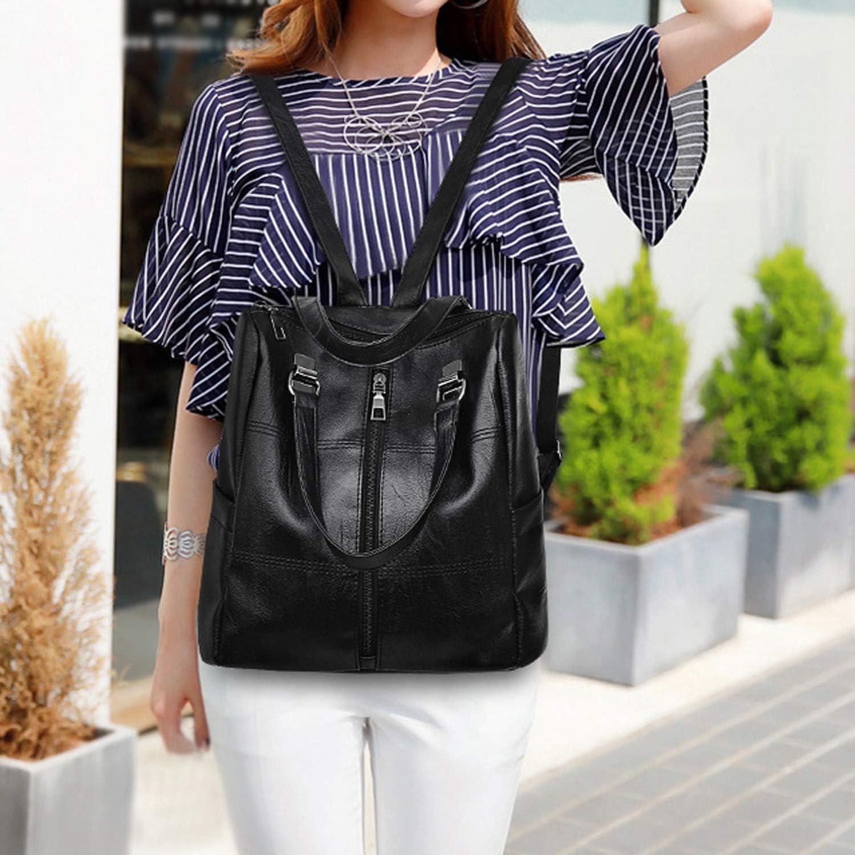 Women Backpack Female Korean Style Vintage Leather School Bags For Teenage Girls Satchel Women Travel Shoulder Bag YL,Red,United States