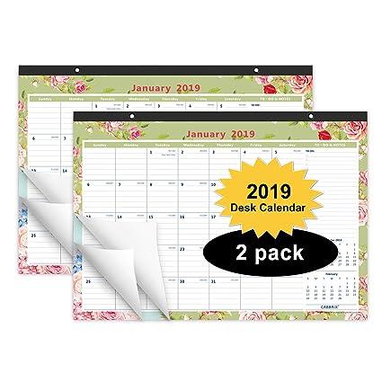 Calendar 2019-16 Academic Amazon.: Cabbrix Monthly Desk Pad Calendar 2019, 16 4/5