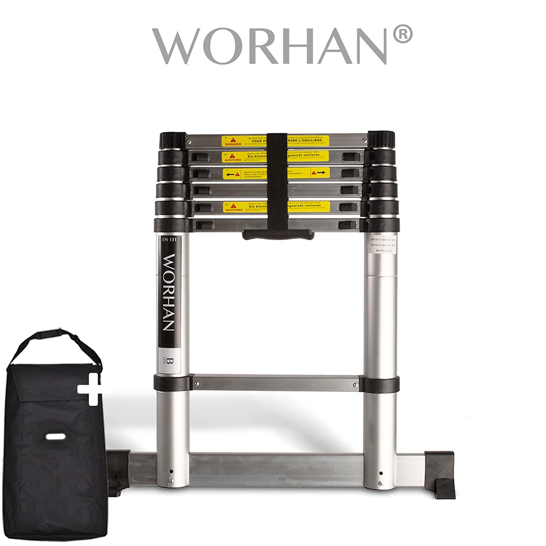 WORHAN® Echelle 2.0m Télescopique PRO Aluminium Anodisé Solide Extensible 200cm (.2m C-line) 1K2C WORHAN®