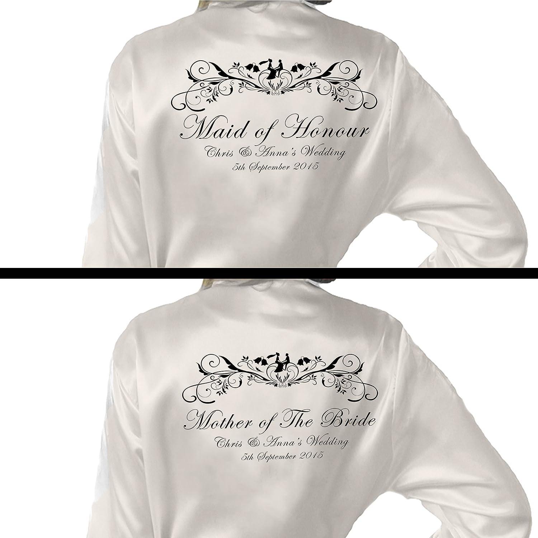 Kimono/bata personalizada (raso), diseño personalizado para bodas, de Inspiredcreativedesign, tela, Blanco, uk 8-10: Amazon.es: Hogar