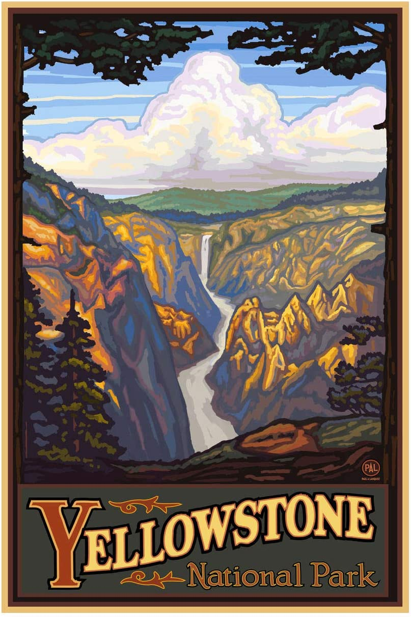 "Yellowstone National Park Yellowstone Falls Giclee Art Print Poster from Original Travel Artwork by Artist Paul A. Lanquist 12"" x 18"""