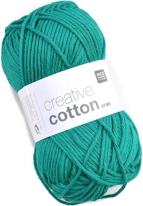 Rico Creative Cotton Aran Fb. 69 verde oscuro, hilo de algodón para punto y ganchillo, lana de ganchillo: Amazon.es: Hogar