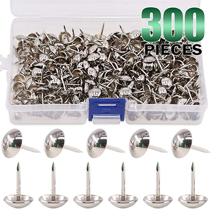 "Keadic 300Pcs 7/16"" (11mm) Antique Upholstery Tacks Furniture Nails Pins Kit for Upholstered Furniture Cork Board or DIY Projects - Silver"