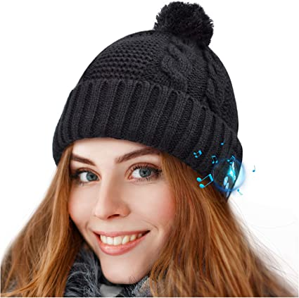 Bluetooth Beanie Hat Wireless Headphones Headset Music Hat Winter Knit Cap with Stereo Speakers /& Microphone Unique Christmas Tech Gifts for Women Mom Her Men Teen Boys Girls