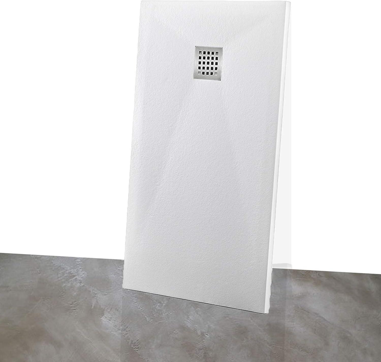 Yellowshop – Plato de ducha rectangular, mármol efecto empedrado blanco: Amazon.es: Bricolaje y herramientas