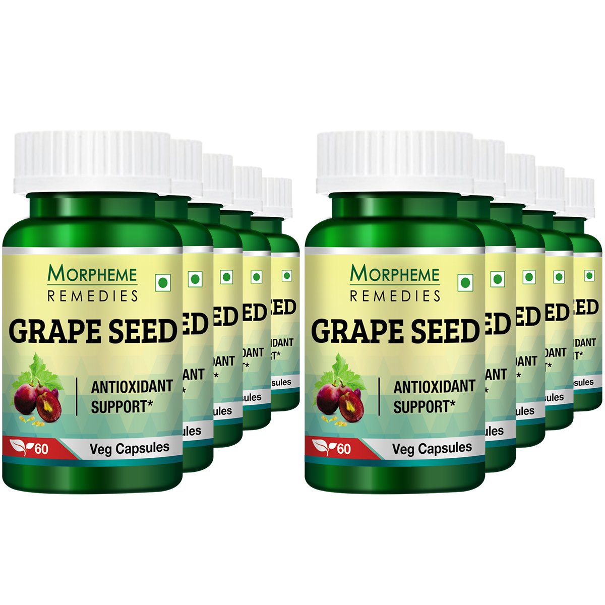Morpheme Grape Seed Extract 500mg Extract 60 Veg Caps (Pack of 10)