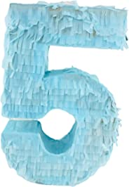 Number Pinata | Piñata | Beautiful Decoration for Birthday Party Center Piece and Photo Prop (Number Five Blue)