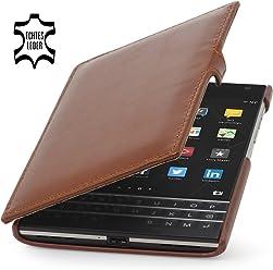 StilGut Book Type, housse en cuir avec clip pour BlackBerry Passport, en cognac