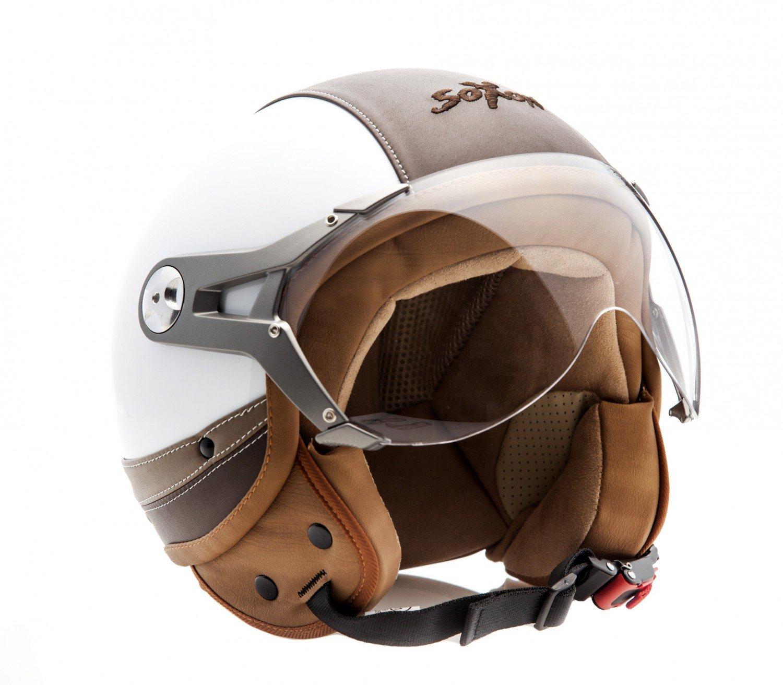 Cloth Bag /· Red /· M 5 Visor /· incl SOXON SP-325-URBAN Red /· Bobber Scooter-Helmet Biker Moto-Helmet Chopper Vespa-Helmet Jet-Helmet Retro Pilot Cruiser Mofa Vintage /· ECE certified /· Leather Design /· incl