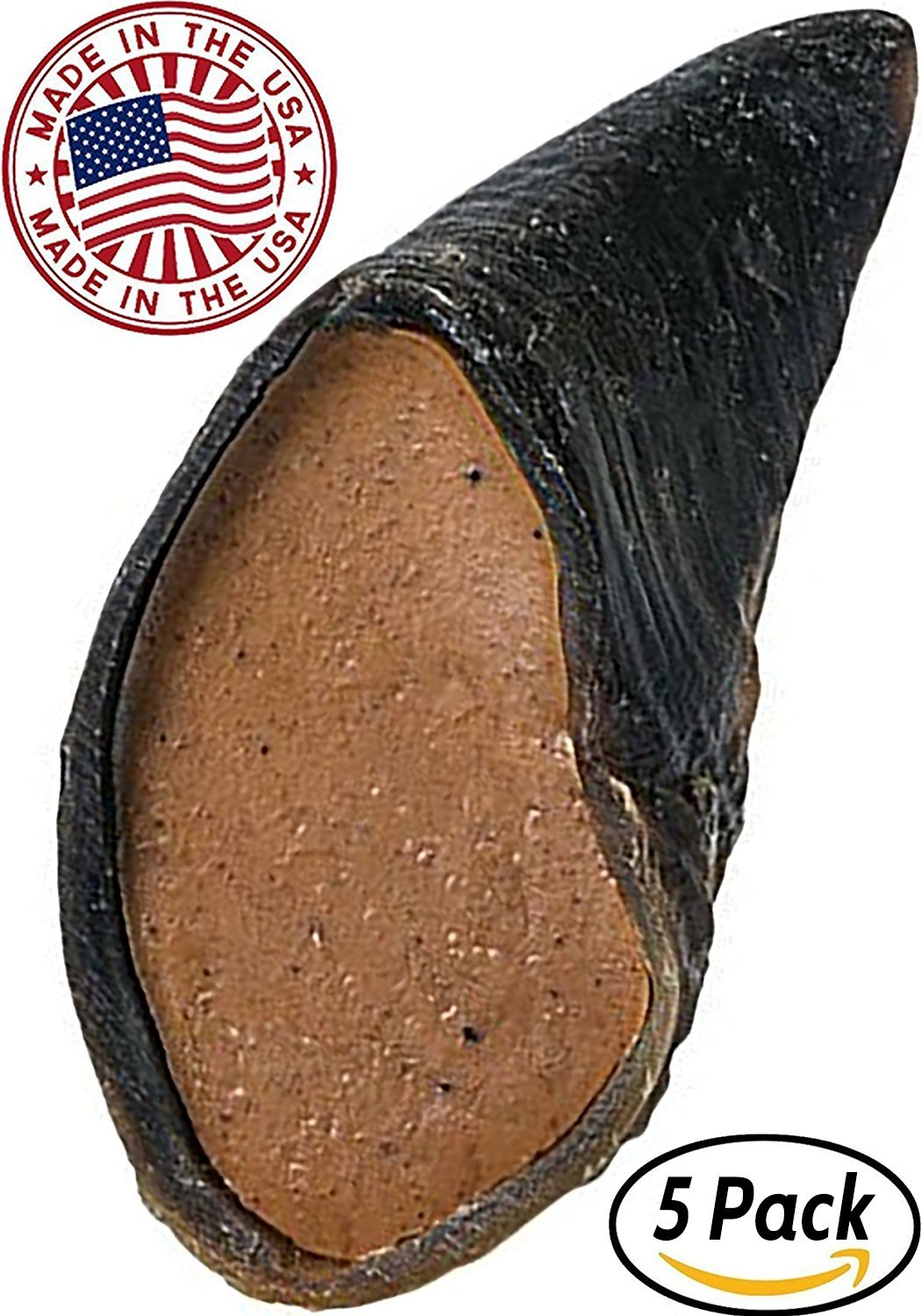 Peanut Butter Filled Cow Hooves for Dogs - Made in the USA Bulk Dog Dental Treats & Dog Chews Beef Hoof, American Made (5 Peanut Butter Filled Hooves)