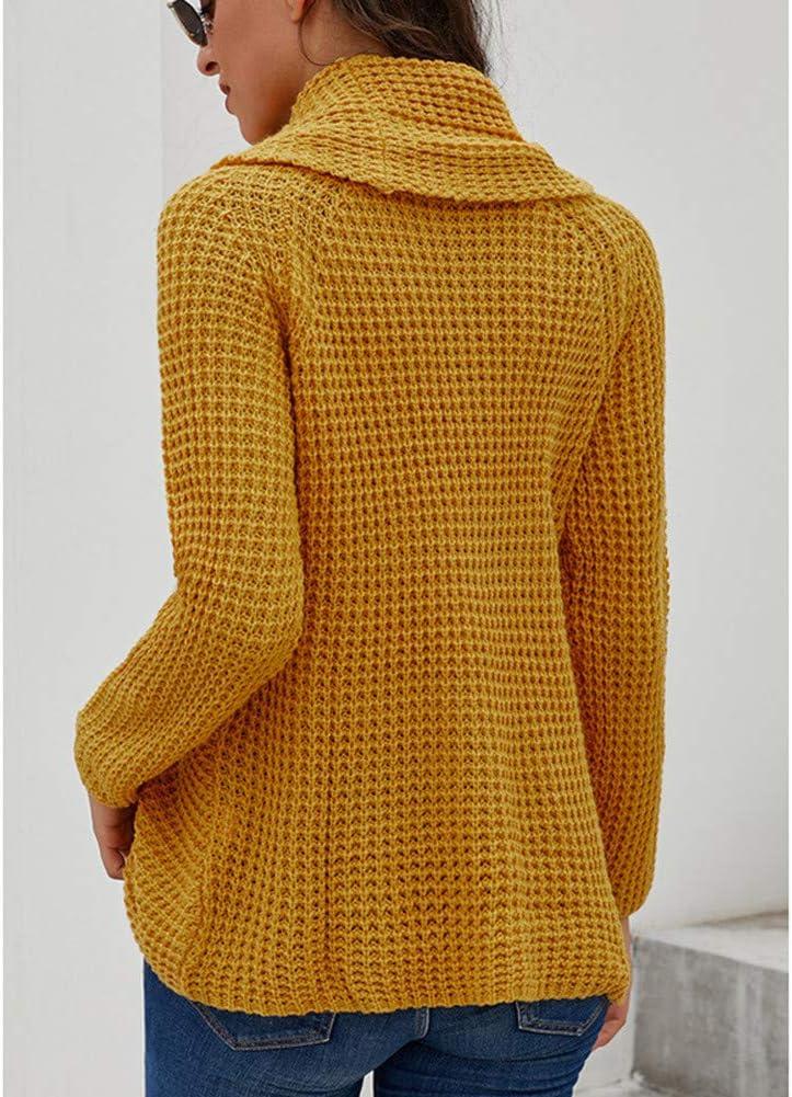 WANXX Autunno Inverno Maglia Alta Colletto Collare Allentato Maglioni di Maglia Lungo Knit Pullover Tops Maglione da Donna con Collo a Tartaruga Yellow