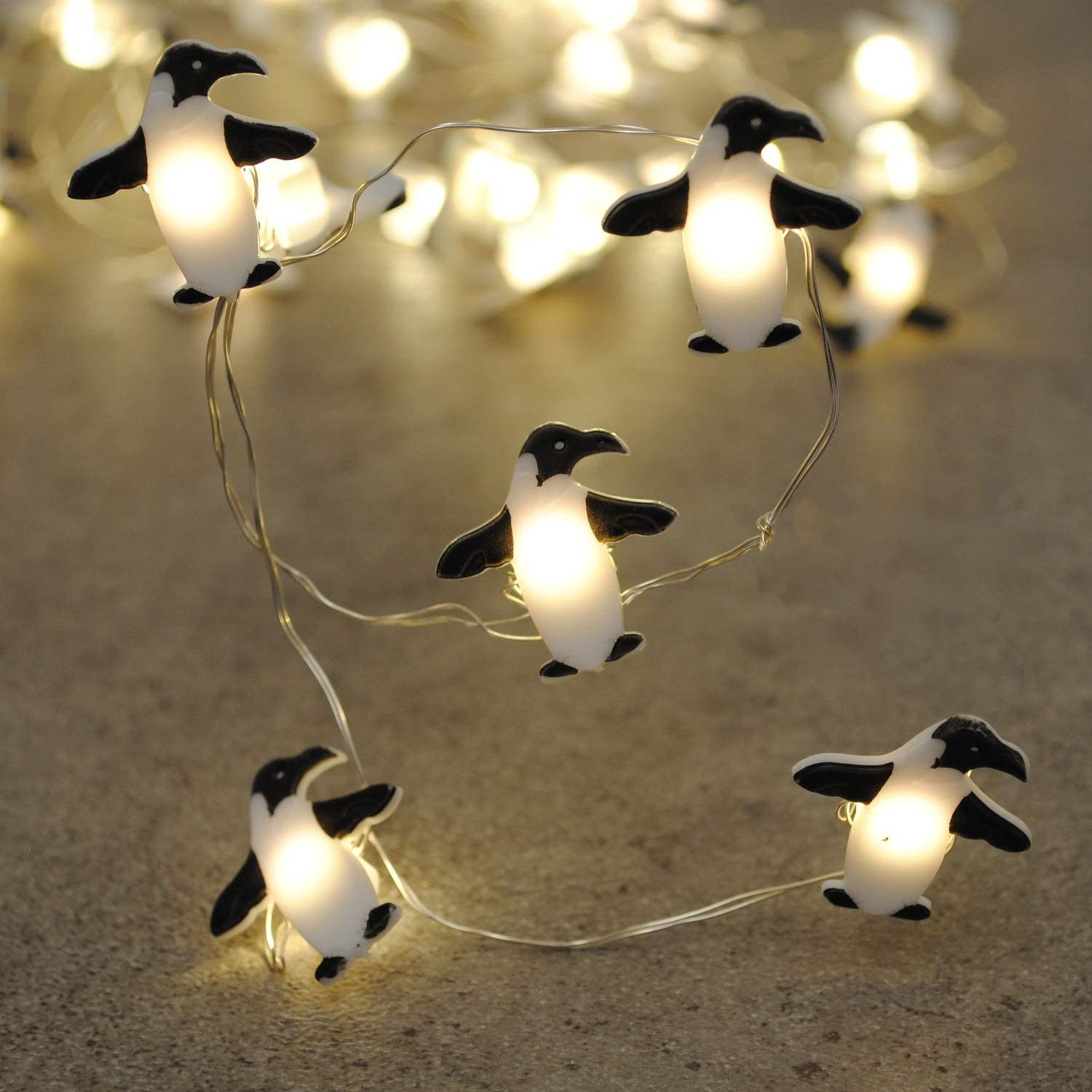 Brooklyn Lighting Company LED Wire Lights, LED String Lights, Battery Operated String Lights with 36 Penguin Shaped Warm LEDs for Party, Bedroom, Kitchen, Patio, Deck and More, 12 Feet Long