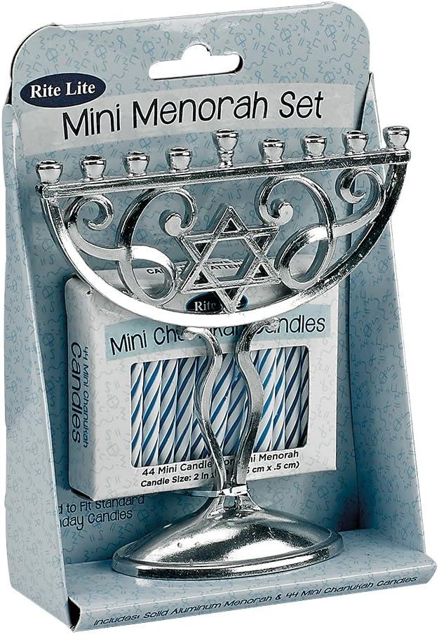 Rite -Lite Judaica M-17005 Mini Menorah Set, 1 EA, Aluminum: Home & Kitchen