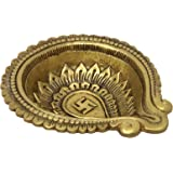 ShalinIndia Brass Metal Swastika Diya for Puja and Aarti Ghee Oil Wick Lamp 1.5 x 6.5 x 5.5 inches 765 g