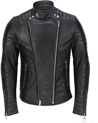 asaavi Mens Black Leather Jacket Genuine Lambskin Slim Fit Motorcycle Biker Jacket MJ008