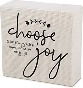Lighthouse Christian Products Choose Joy Embossed Cream 4 x 1.5 Ceramic Desktop Plaque