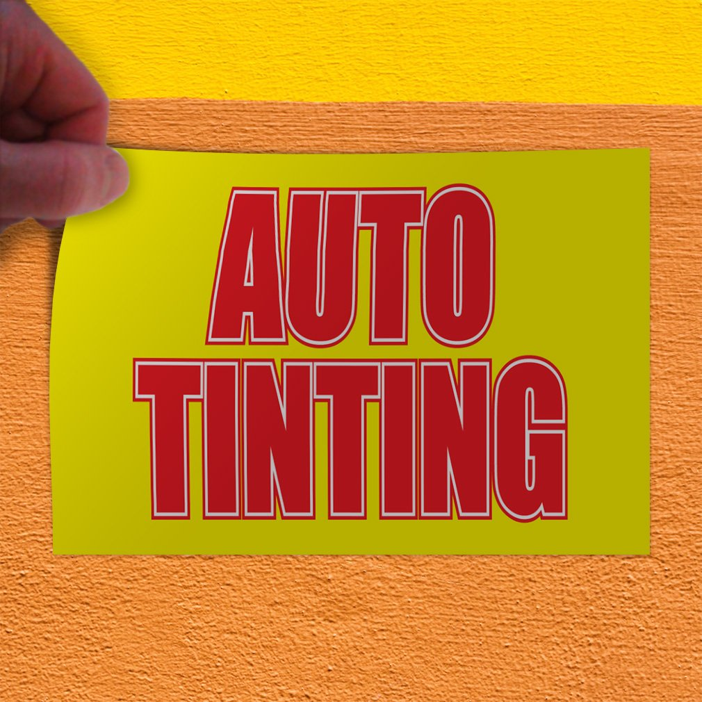 Set of 10 Decal Sticker Multiple Sizes Auto Tinting #1 Style A Automotive Auto Outdoor Store Sign Yellow 14inx10in