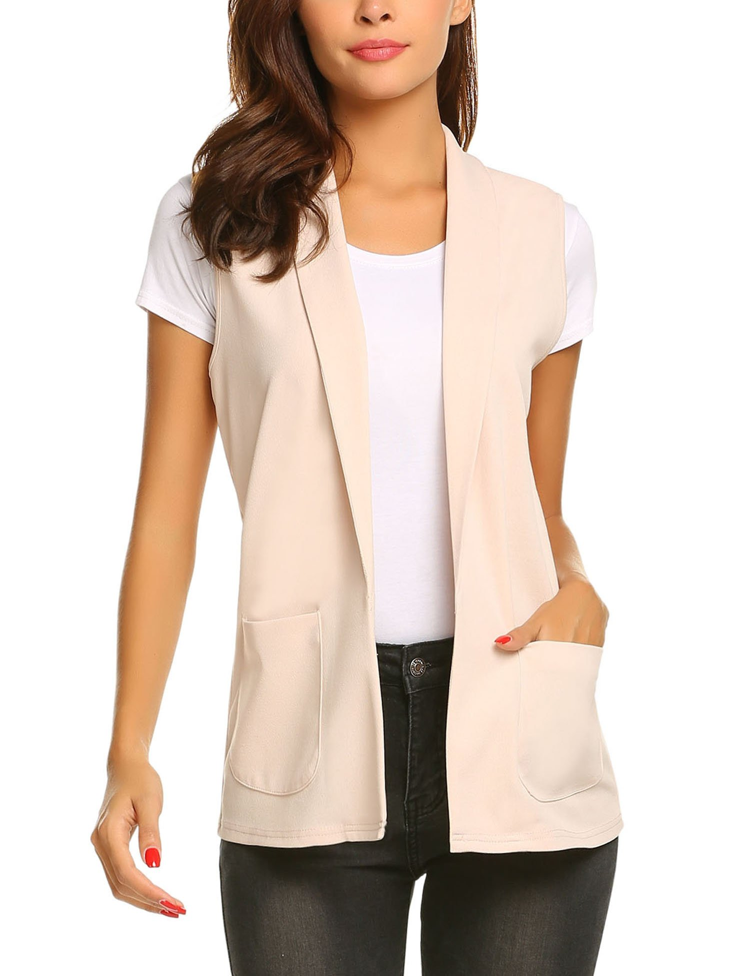 Dealwell Women Sleeveless Shawl Draped Blazer Open Front Pocket Cardigan Vest Top (Light Pink, Small)