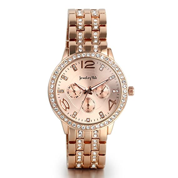 JewelryWe Reloj de Diamantes de Imitación Brillantes, Acero Inoxidable Relojes de Moda, 3 Subesferas Decorativas Casual Elegante, Regalo de Mujer, ...
