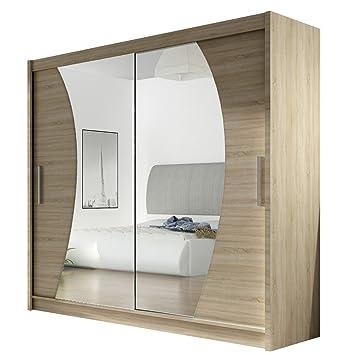 Kleiderschrank Mit Spiegel London IX, Schwebetürenschrank,  Schiebetürenschrank, Modernes Schlafzimmerschrank 180x215x57cm, Garderobe,