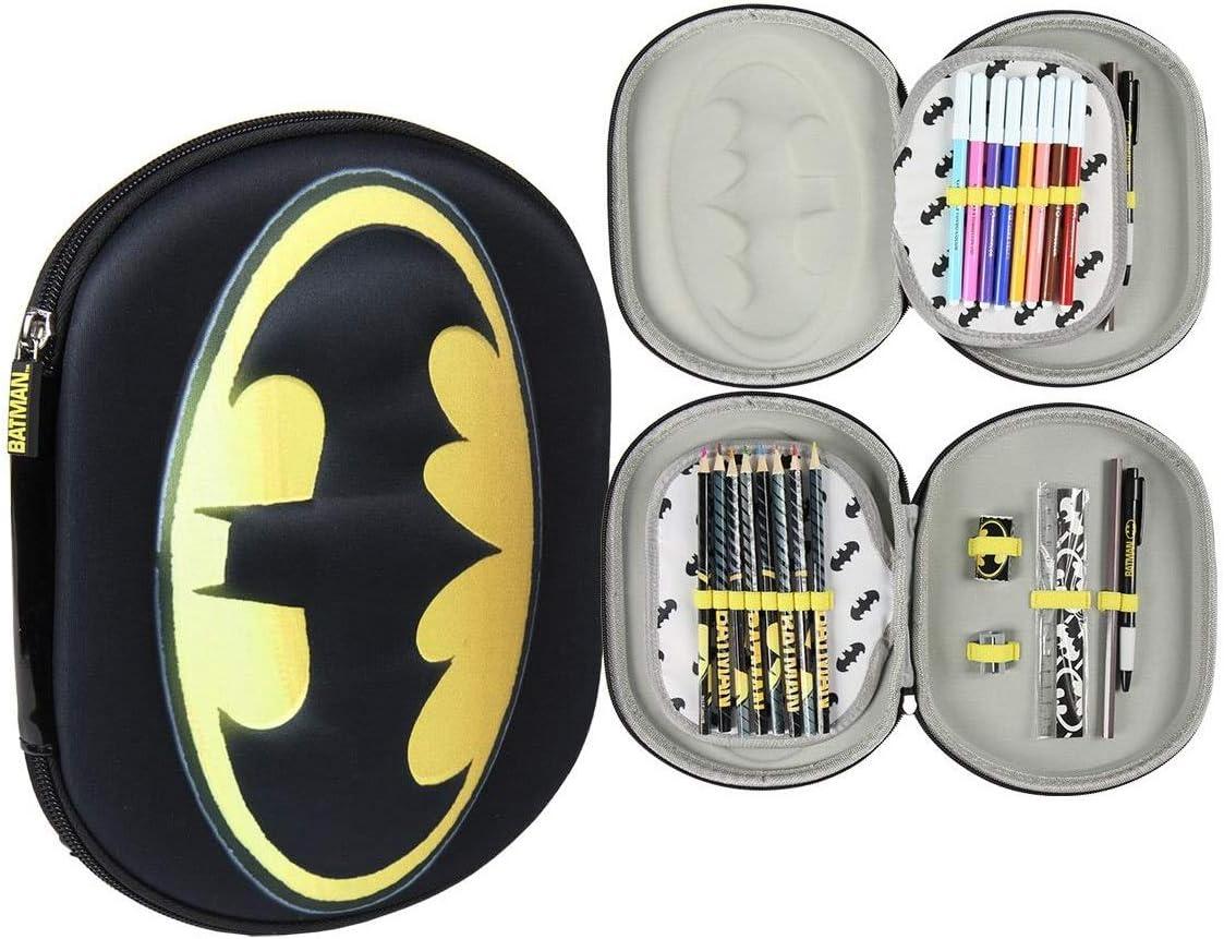 Takestop® - Estuche Batman con cremallera 3D DC Comics con cremallera y compartimento para accesorios, 8 lápices y 8 bolígrafos Giotto, para regla, bolígrafo, lápiz, goma templada, para niños y niñas: Amazon.es: