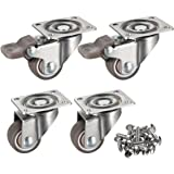 "bayite 4 Pack 1"" Low Profile Casters Wheels Soft Rubber Swivel Caster with 360 Degree Top Plate 100 lb Total Capacity for Set of 4 (2 with Brakes & 2 without)"
