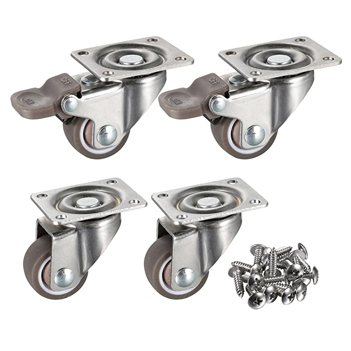 """bayite 4 Pack 1"""" Low Profile Casters Wheels Soft Rubber Swivel Caster with 360 Degree Top Plate 100 lb Total Capacity for Set of 4 (2 with Brakes & 2 Without)"""