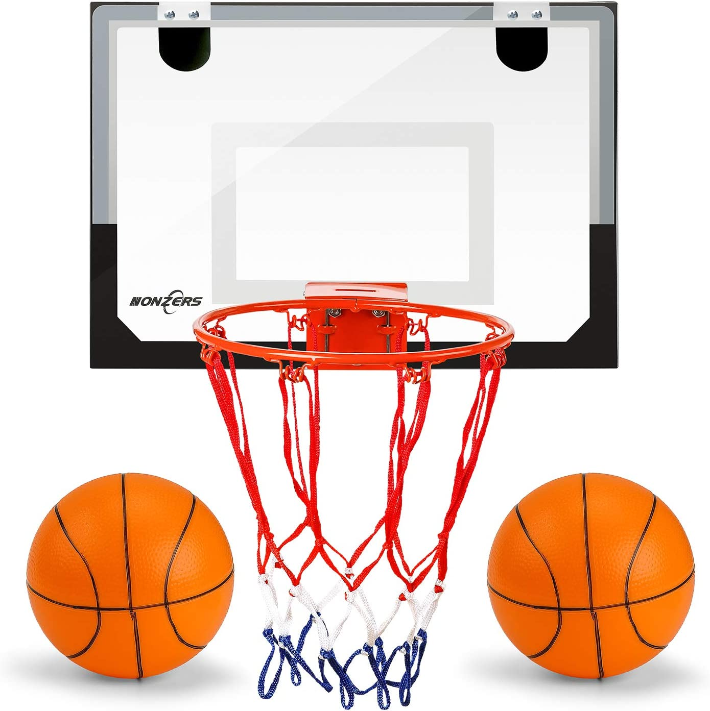 NONZERS Mini Basketball Hoop for Door & Wall, Indoor Mini Basketball Hoop Set for Home and Office Games, Includes 2 Mini Basketballs and Hand Pump, Mobile Mini-Hoop Gift for Kids Boys Girls