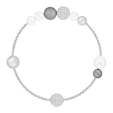 Bracelet swarovski mixte avec perle en cristal de couleur gris, blanc et corail.