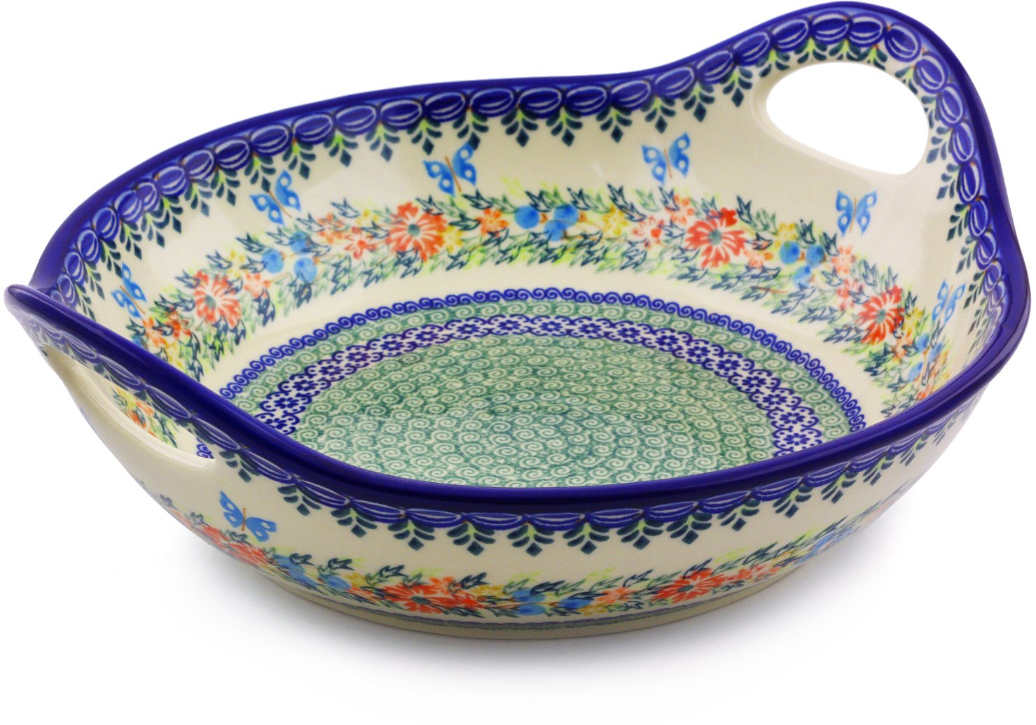 Polish Pottery 11½-inch Bowl with Handles (Red Cornflower And Blue Butterflies Theme) Signature UNIKAT + Certificate of Authenticity by Polmedia Polish Pottery