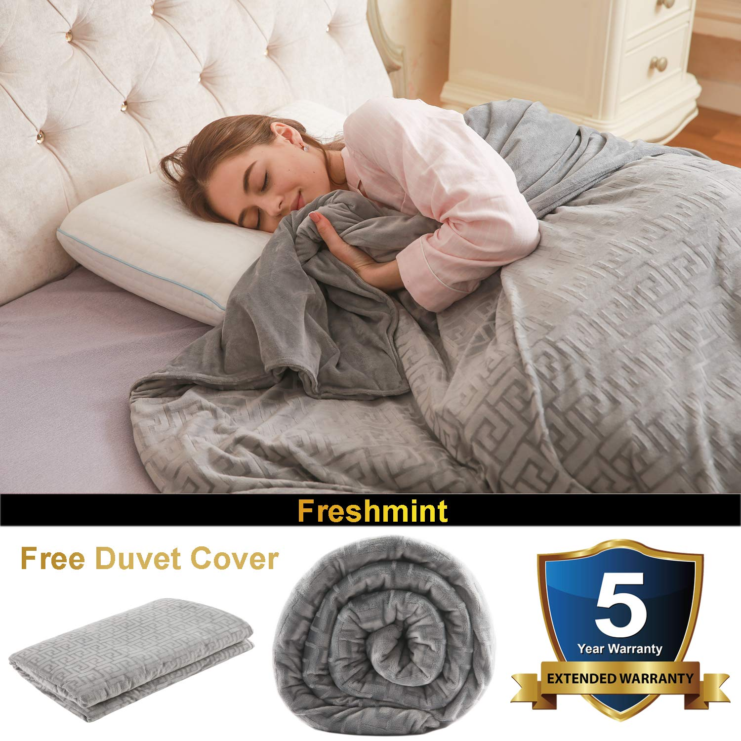 Freshmint Weighted Blankets (15 lbs, 48''x72'') Heavy Blanket W/Removable Duvet Cover | for Kids/Adult Between 140-180 lbs | Twin/Full Sized Bed | Premium Glass Beads | Gray