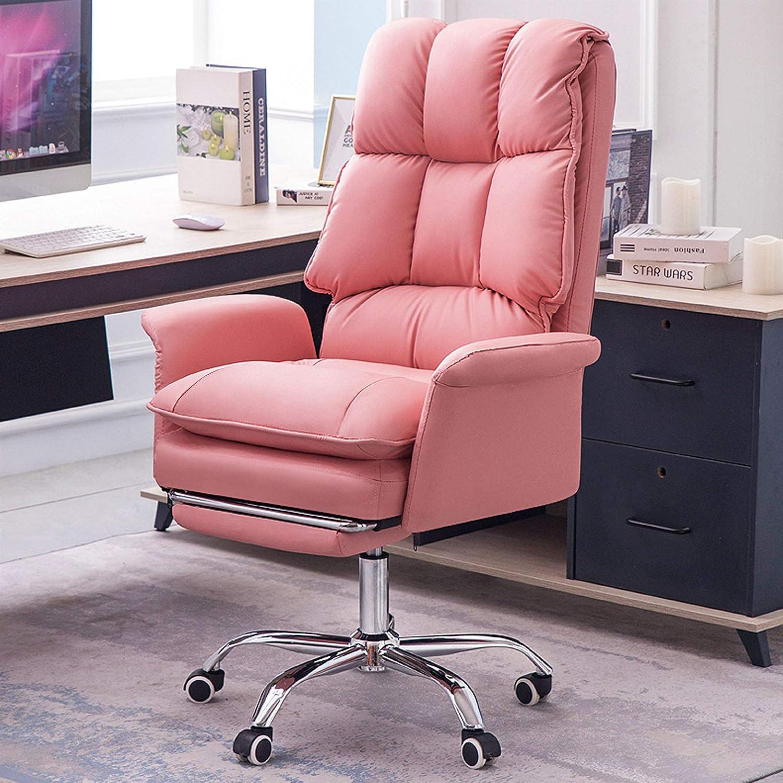 Liggande läder kontorsstol ergonomisk dator skrivbordsstol verkställande svängbar höjd stol med bekväm svamp infällbar fotstöd elegant sovrumsmöbler, rosa, 49 x 41 x 126 cm Rosa
