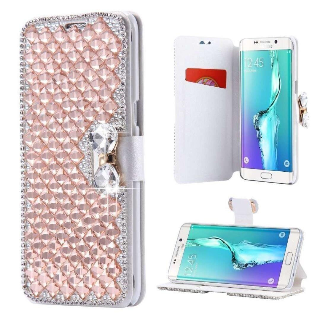 Galaxy Note 8 Wallet Case,Inspirationc and Made Luxury 3D Bling Crystal Rhinestone Leather Purse Flip Card Pouch Stand Cover Case for Samsung Galaxy Note 8--Rose Gold