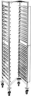 Royal Catering - Tablettwagen Abräumwagen (20 GN 1/1 Behälter, 4 Räder aus Vollgummi, Feststellbremse, Edelstahl + Montagematerial) Silber
