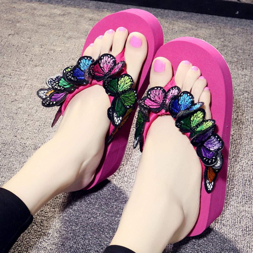 Women Slippers Sandals Ladies Girls Summer Fashion Butterfly Floral Wedges Flip Flops Sandals Slides Beach Shoes