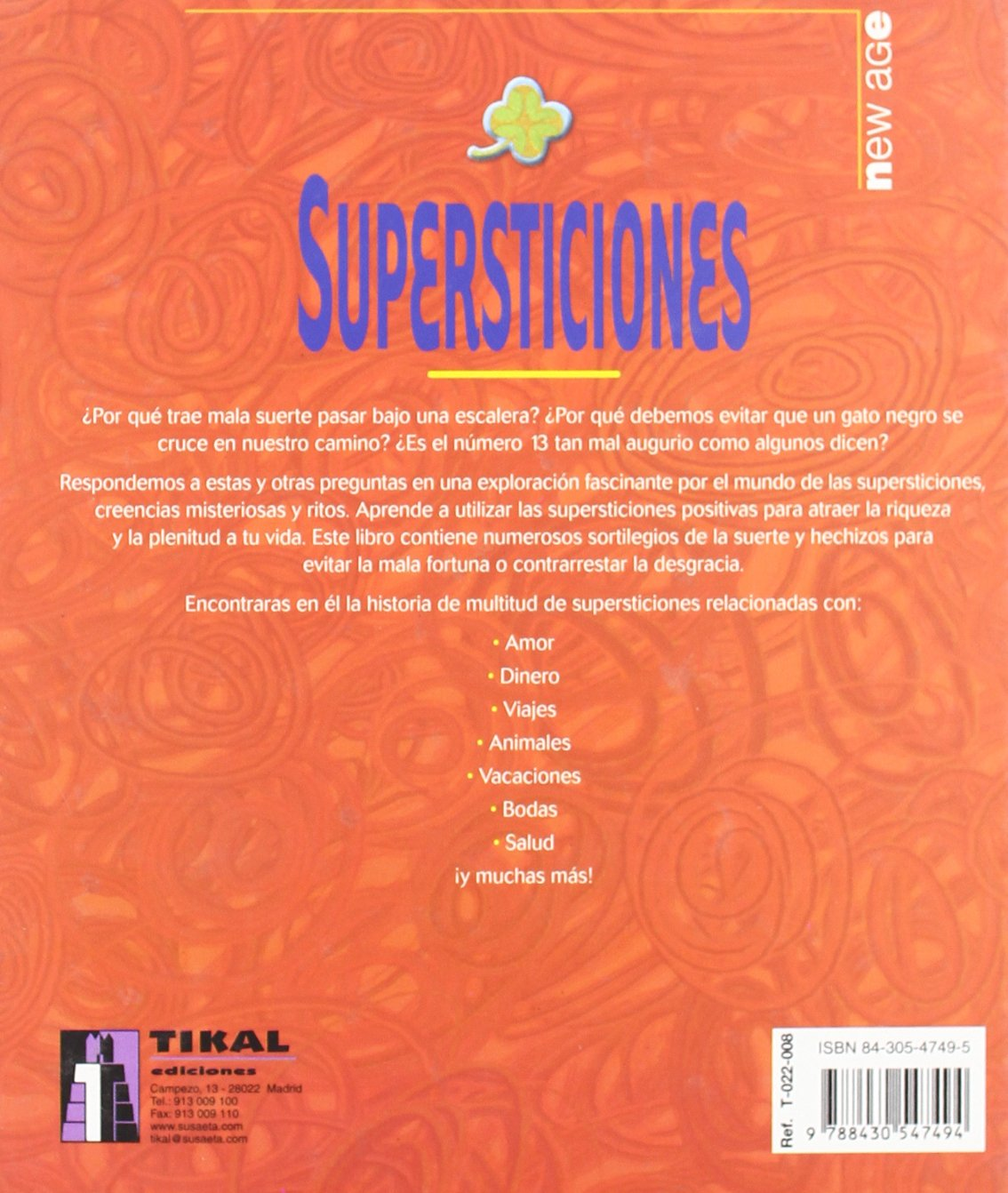 Supersticiones (New Age -Tikal): T-022-8: 9788430547494: Amazon.com: Books