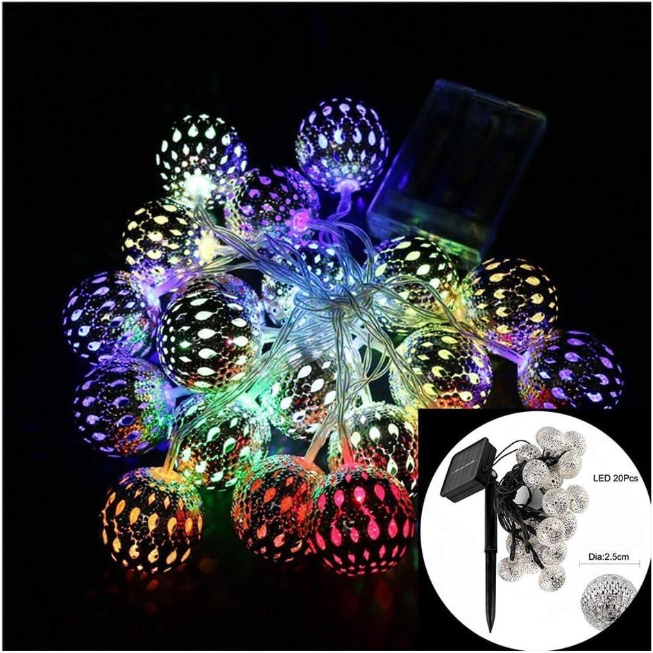 Luces de cuerda solares, cadena de bola de plata Luces de cadena de hierro forjado, con bola de led 4.8m 20 led, 2 modos, resistente al agua, para jardines, céspedes, patios, patios traseros Ideal pa