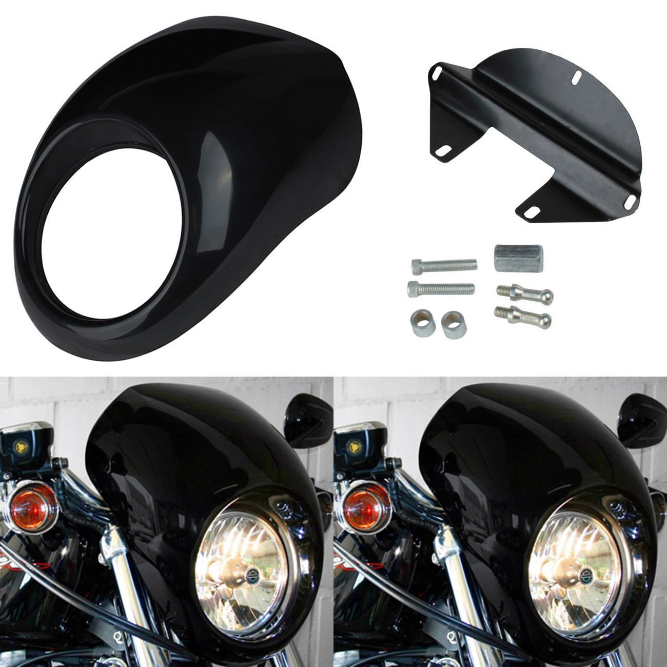 Ambienceo Front Headlight Fairing Cowl Mask Trim Cover for Harley Sportster Dyna Glide FX XL