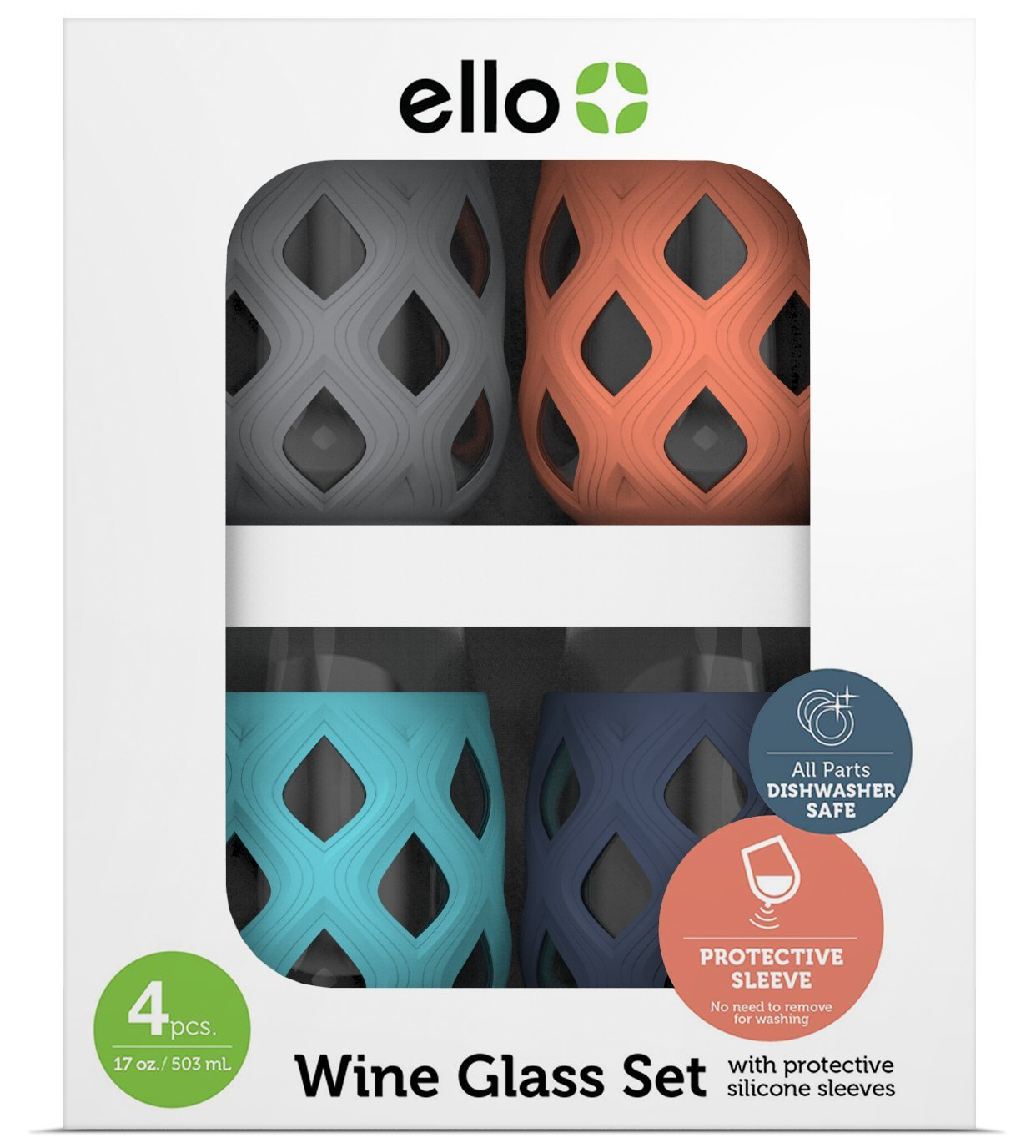 Ello Cru BPA-Free Stemless Wine Glass Set with Silicone Protection (4 Pack), Paloma, 17 oz.
