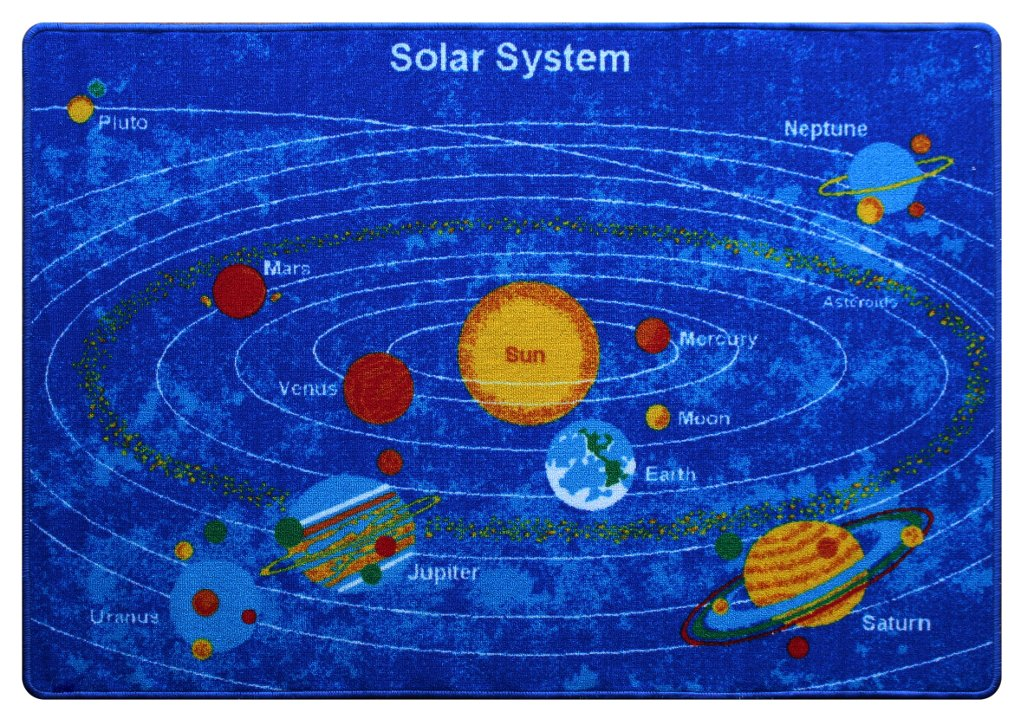 Kids Area Rug - Solar System Design (7 Ft. 4 In. X 10 Ft. 4 In.)