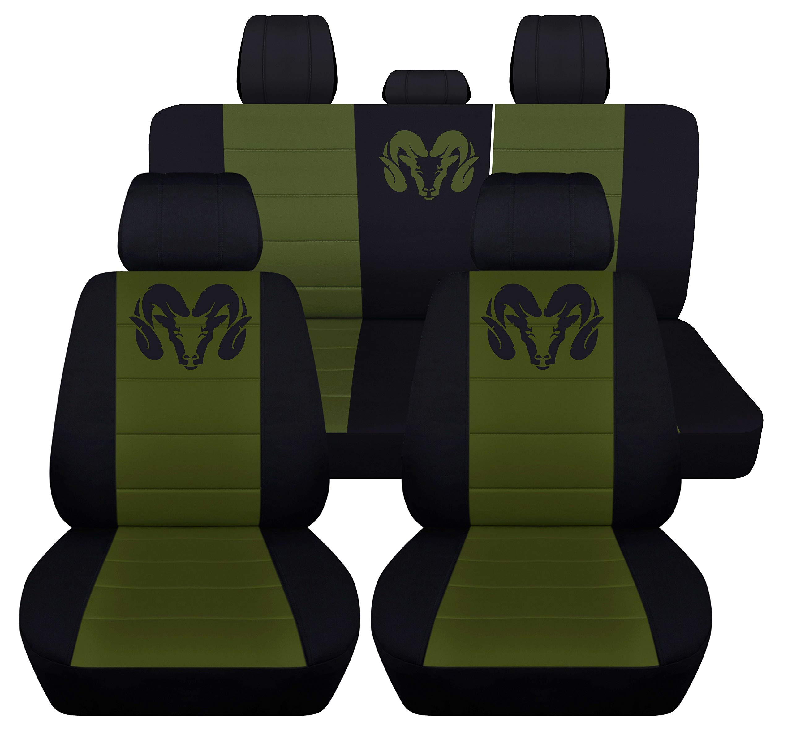 Fits 2012 to 2018 Dodge Ram Front and Rear Ram Seat Covers 22 Color Options (Solid Rear Bench, Black Hunter Green)