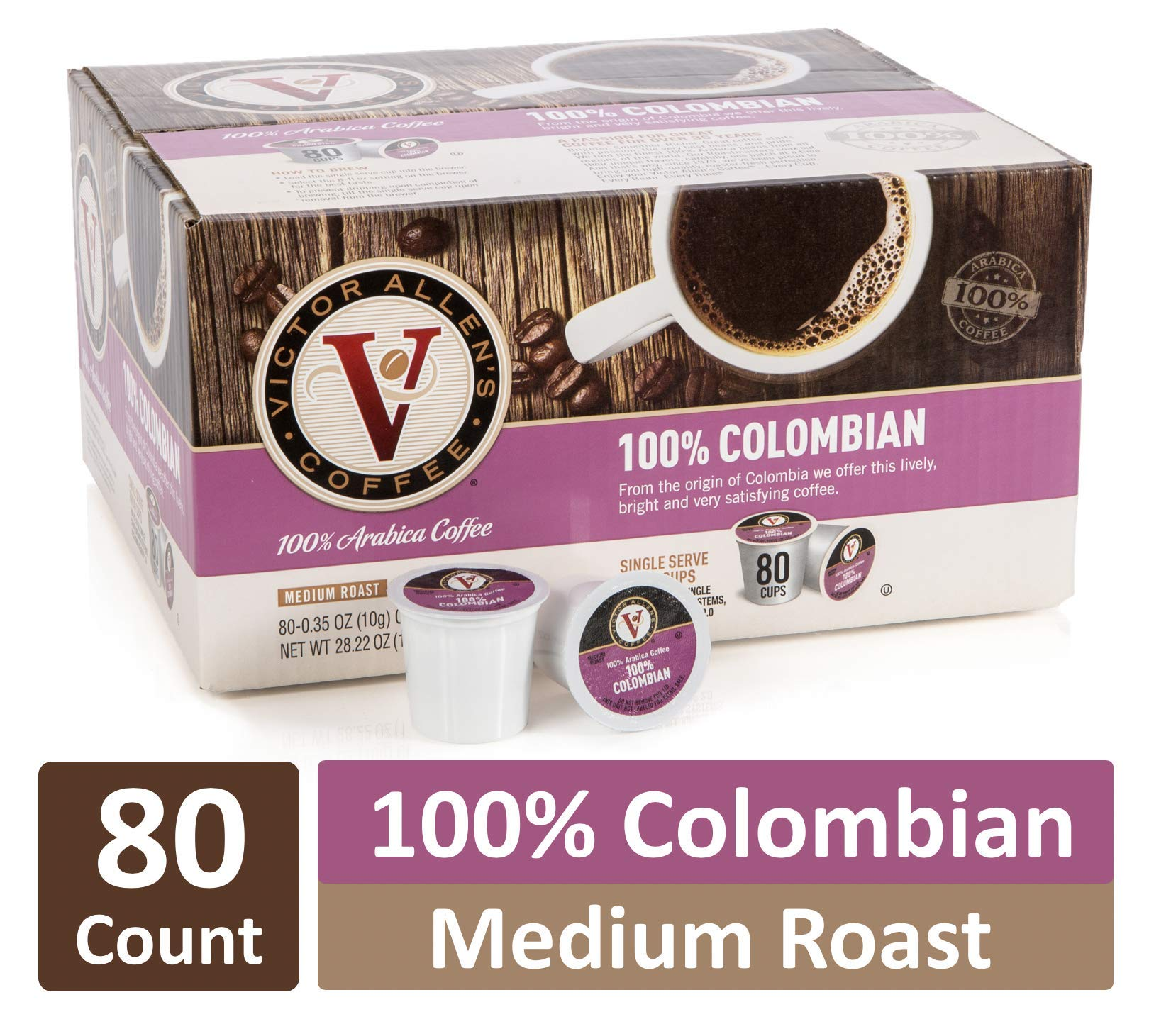 100% Colombian for K-Cup Keurig 2.0 Brewers, 80 Count, Victor Allen's Coffee Medium Roast Single Serve Coffee Pods