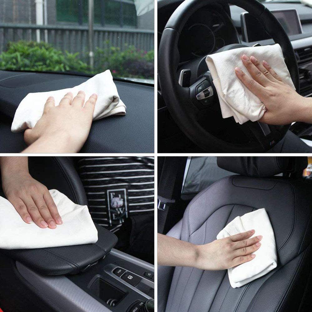 Trainshow Chamois Leather Cloth for Car Washing Cleaning Natural Genuine Large Deerskin Shammy Drying Towel for Car and Kitchen 20X31.5 1-Pack