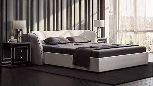 Modern Vitali White Microfiber Leather Platform Queen Bed