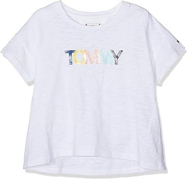 Tommy Hilfiger Colored Tommy Logo S/S Camiseta para Niñas