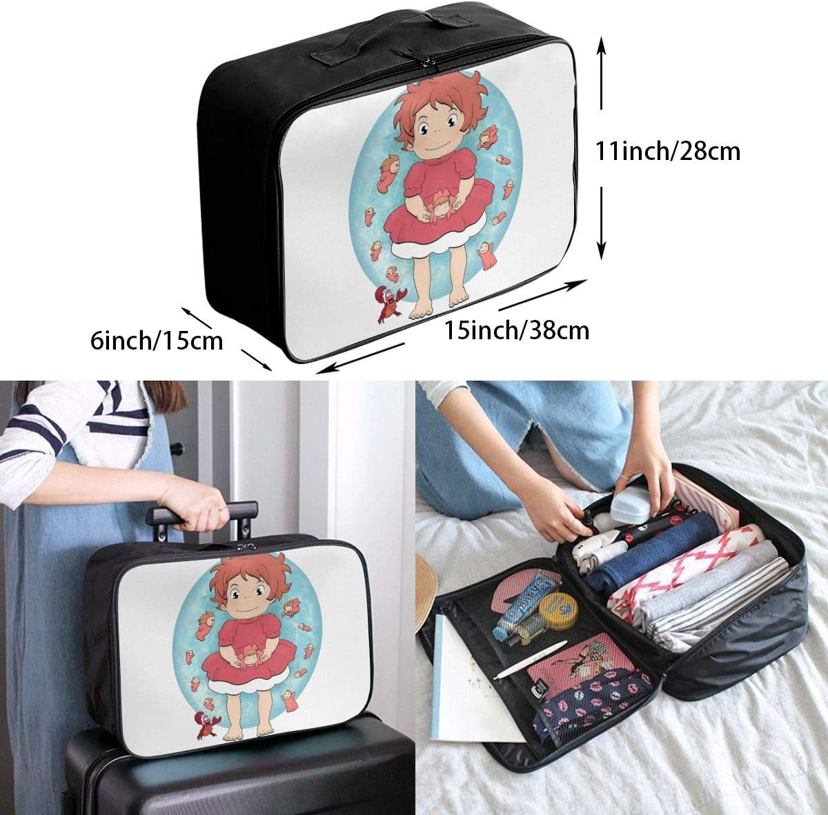 Ponyo Lightweight Large Capacity Portable Luggage Bag Hanging Organizer Bag Makeup Bag