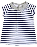 EGG by Susan Lazar Girl's Striped Cap Sleeve Tunic w/Bow Navy