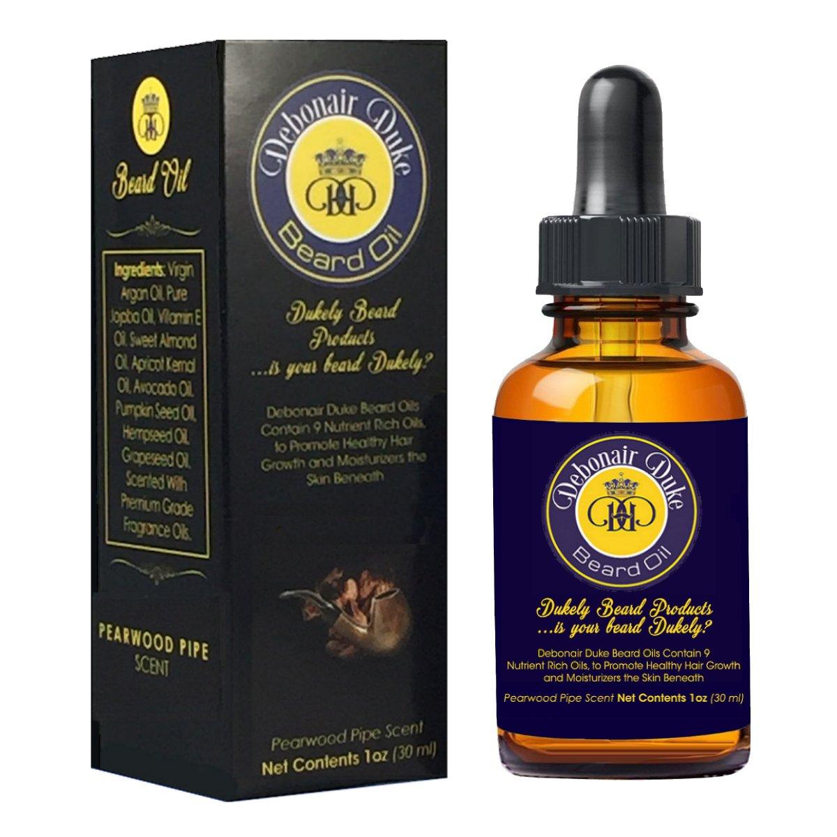 Debonair Duke Pearwood Pipe Scent-Best Men's 100% Natural Beard Oil/Leave-In Conditioner & Softener-Stimulates Beard Growth-Moisturizes Skin-Great for All Men's Beard Styles & Grooming-Made In USA Dukely Beard Co